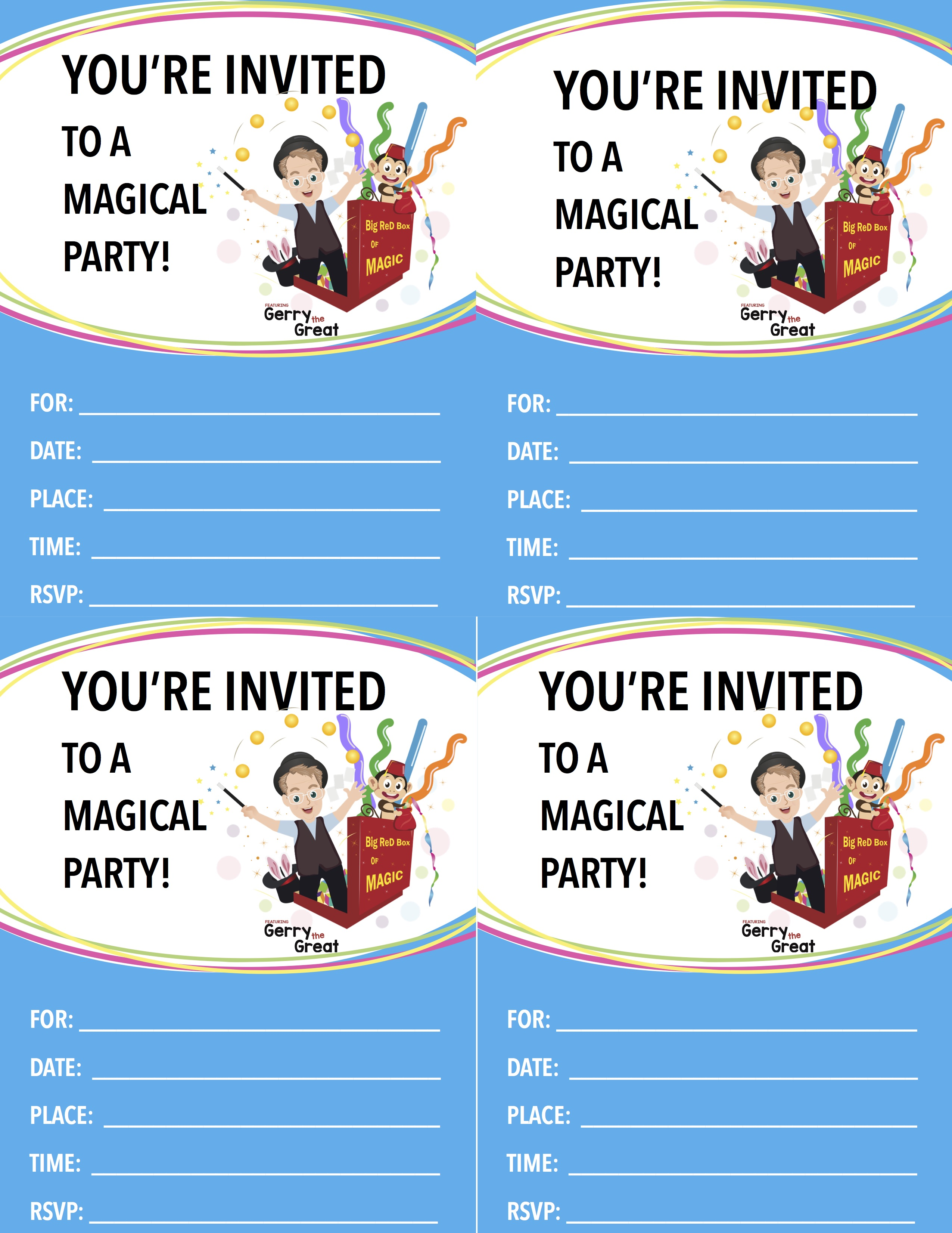 Magic Birthday Party Invitation Sandy Shoes Entertainment