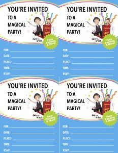 MAGIC & More Birthday Party Invite Blue copy